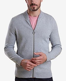 Barbour Men's Blair Light Gray Full-Zip Sweater with Tartan Elbow Patches