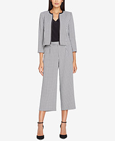 Tahari ASL Cropped Gingham Jacket, Regular & Petite