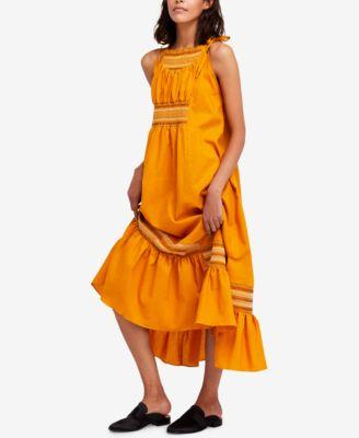 free people one sleeve orange dress