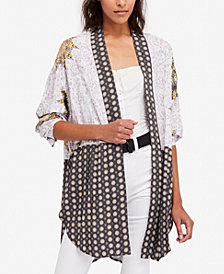 Free People Forget Me Not Mixed-Print Kimono Cardigan