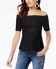 Thalia Sodi Denim Peplum Off-The-Shoulder Top, Created for Macy's