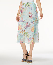Alfred Dunner Petite Roman Holiday Tiered Floral-Print Skirt