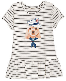 Monteau Dog Graphic Peplum Top, Big Girls