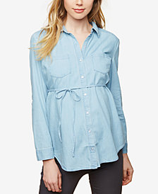 Motherhood Maternity Chambray Button-Front Shirt