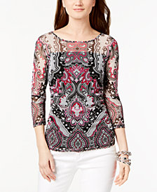 I.N.C. Printed Mesh Top, Created for Macy's
