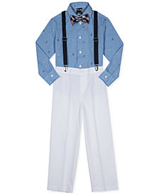 Nautica 4-Pc. Ocean-Print Shirt, Pants, Bow Tie & Suspenders Set, Toddler Boys