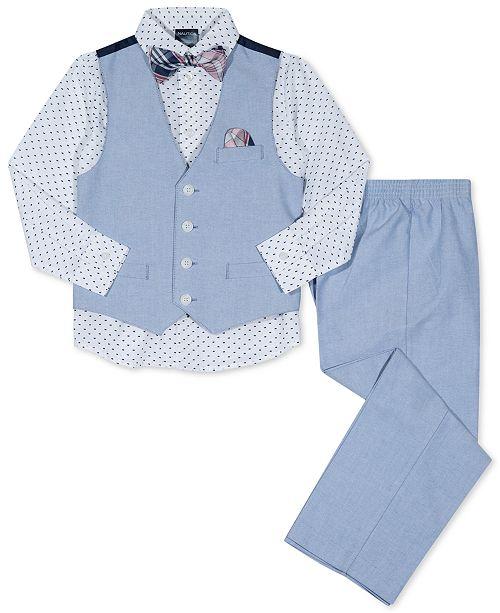 063e86adefb4 Nautica 4-Pc. Vest, Shirt, Pants & Bow Tie Set, Little Boys & Reviews ...