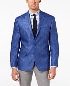 Ryan Seacrest Distinction™ Men's Modern-Fit Blue Windowpane Linen Sport Coat, Created for Macy's