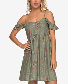 Roxy Juniors' Do It My Way Printed Cold-Shoulder Dress