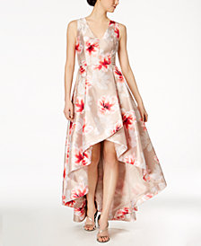 Calvin Klein Floral-Print High-Low Gown