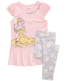 Disney's Beauty & The Beast 2-Pc. Belle T-Shirt & Leggings Set, Toddler Girls