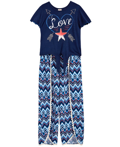 Belle Du Jour 2-Pc. Printed Tie-Front Top & Tulip Palazzo Pants Set, Big Girls