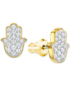 Swarovski Gold-Tone Crystal Hamsa Hand Stud Earrings