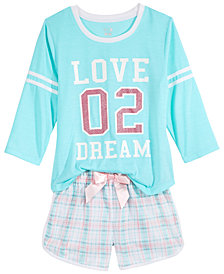 Max & Olivia Graphic-Print Pajama Separates, Little & Big Girls