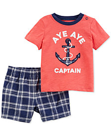 Carter's 2-Pc. Graphic-Print Cotton T-Shirt & Shorts Set, Toddler Boys