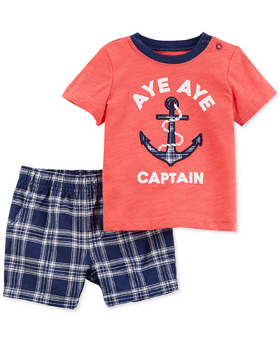 Carter's 2-Pc. Graphic-Print Cotton T-Shirt & Shorts Set, Toddler Boys