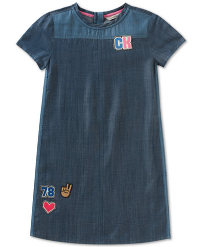 Calvin Klein Cotton Denim Patch Dress, Big Girls