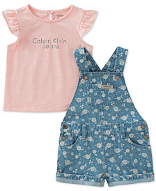 Calvin Klein 2-Pc. Graphic-Print Cotton Top & Printed Shortall Set, Little Girls