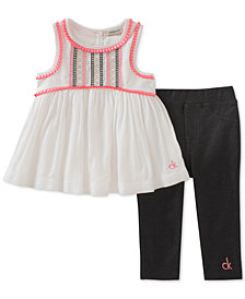 Calvin Klein Woven Tunic & Leggings Set, Little Girls