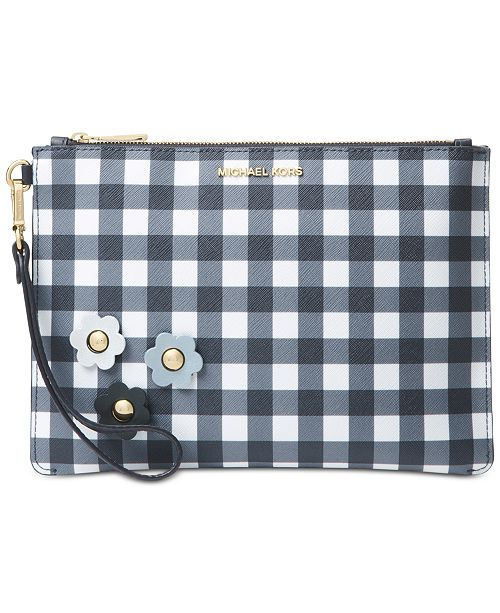 fce473eaa86c60 Michael Kors Gingham Medium Zip Pouch, Created for Macy's & Reviews ...