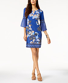 JM Collection Chiffon-Sleeve Keyhole Dress, Created for Macy's