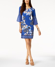 JM Collection Chiffon-Sleeve Keyhole Dress, Created for Macy's