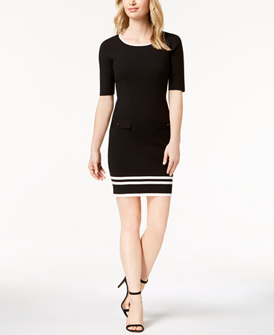 Anne Klein Contrast-Knit Shift Dress