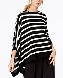 Anne Klein Striped Asymmetrical Sweater