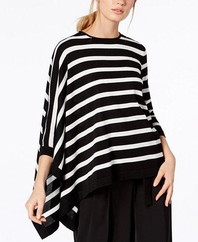 Anne Klein Striped Asymmetrical Sweater