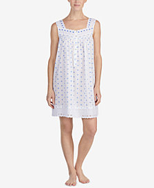 Eileen West Eyelet-Lace Woven Cotton Nightgown