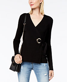 I.N.C. Grommet-Embellished Wrap Sweater, Created for Macy's