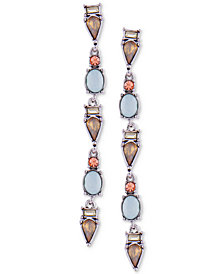 GUESS Silver-Tone Multi-Stone Linear Drop Earrings