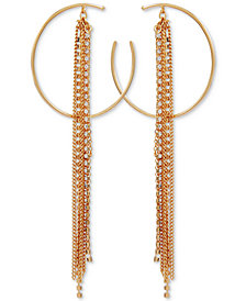 GUESS Crystal Hoop & Multi-Chain Fringe Drop Earrings