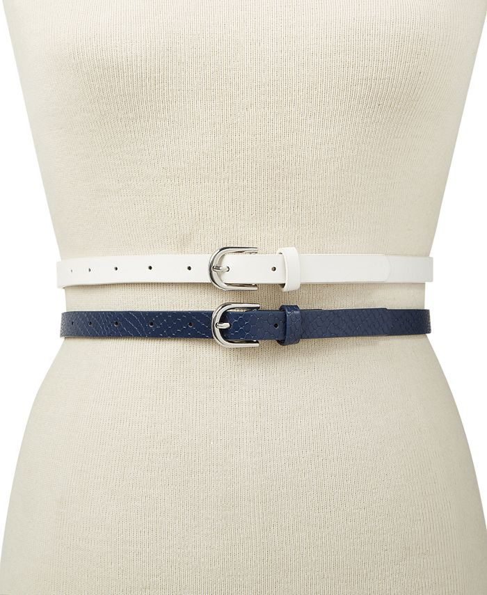INC International Concepts - 2-for-1 Embossed & Solid Belt Set