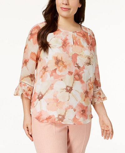 Alfred Dunner Plus Size La Dolce Vita Printed Keyhole Blouse