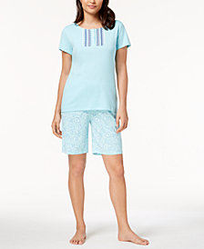 Charter Club Floral-Placket Cotton Bermuda Pajama Set, Created for Macy's