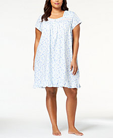 Eileen West Plus Size Cotton Venise-Lace Knit Nightgown