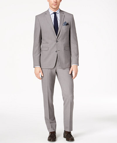 Vince Camuto Men's Slim-Fit Stretch Gray Solid Suit