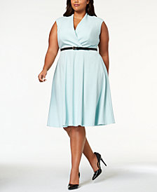 Calvin Klein Plus Size Belted A-Line Dress