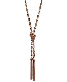 Two-Tone Long Knotted Tassel Lariat Necklace