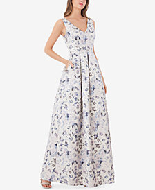 JS Collections Floral-Print Metallic Ball Gown