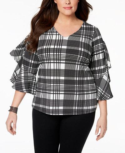 Charter Club Plus Size Ruffle-Trim V-Neck Top, Created for Macy's