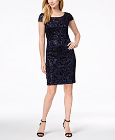 Calvin Klein Sequined Lace Sheath Dress