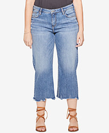 Silver Jeans Co. Plus Size Frayed Wide-Leg Cropped Jeans