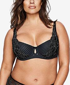 Ashley Graham Lingerie Plus Size Basic Diva Lace-Trim Keyhole Bra 401456