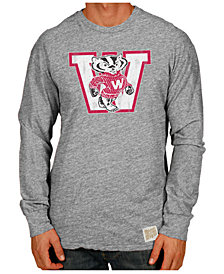 Retro Brand Men's Wisconsin Badgers Tri-Blend Long Sleeve T-Shirt