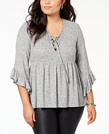 Soprano Trendy Plus Size Lace-Up Babydoll Sweater