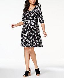 Fox & Royal Trendy Plus Size Floral-Print Dress