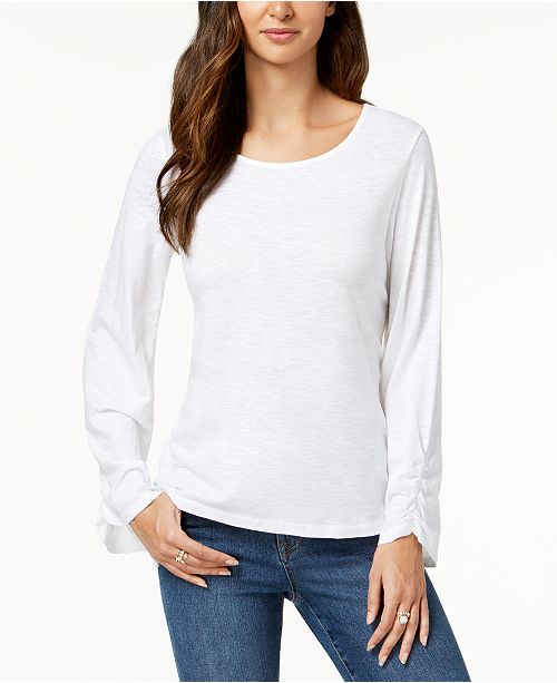 Style & Co Ruched-Sleeve Top, Created for Macy's