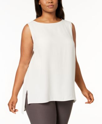 Plus Size SYSTEM Silk High-Low Tunic